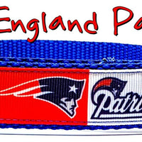 "Patriots dog collar handmade adjustable buckle collar football 1"" wide or leash - Furrypetbeds"
