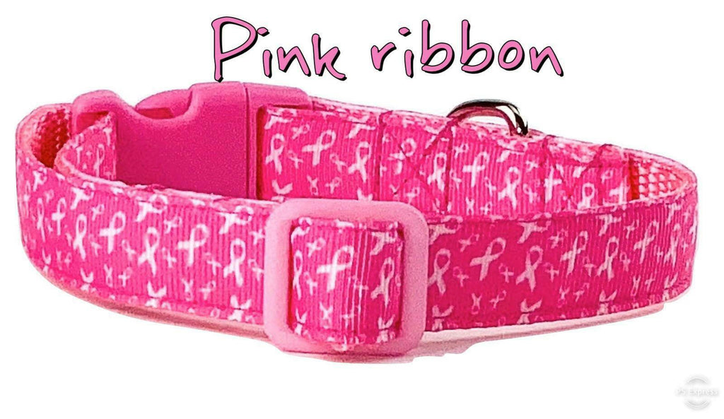 "Pink Ribbon Dog collar handmade adjustable buckle 5/8"" wide or leash - Furrypetbeds"