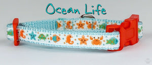 "Ocean Life cat or small dog collar 1/2"" wide adjustable handmade bell leash - Furrypetbeds"