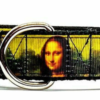 "Mona Lisa dog collar handmade adjustable buckle collar 1"" wide or leash artist - Furrypetbeds"