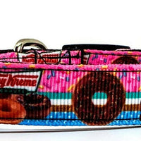 "Krispy Kreme Dog collar handmade adjustable buckle 5/8""wide or leash Donuts"