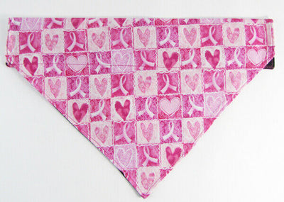 Pink Ribbon Dog Bandana, Over the Collar dog bandana, Dog collar bandana, puppy - Furrypetbeds