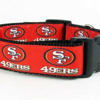 "SF 49ers dog collar handmade adjustable buckle collar football 1"" wide or leash - Furrypetbeds"