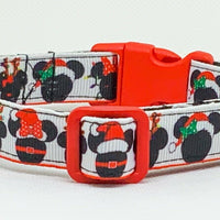 "Mickey Mouse Christmas Dog collar handmade adjustable buckle collar 5/8"" wide - Furrypetbeds"