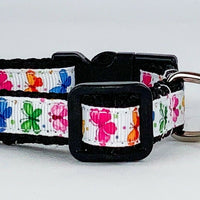 "Butterflies cat or small dog collar 1/2"" wide adjustable handmade bell leash - Furrypetbeds"