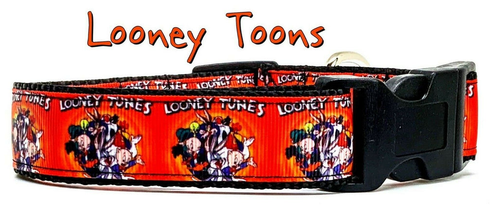 "Loony Toons dog collar handmade adjustable buckle collar 1"" wide or leash"