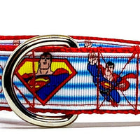 "Superman dog collar handmade adjustable buckle collar 1"" or 5/8"" wide or leash"
