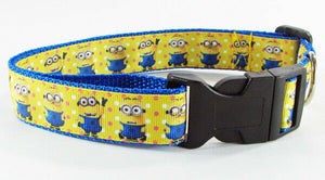 "Minions dog collar Handmade adjustable buckle collar 1"" wide or leash $12 collar - Furrypetbeds"