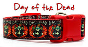 "Day of the Dead dog collar handmade adjustable buckle collar 1"" wide or leash - Furrypetbeds"