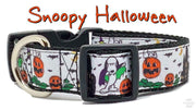 "Snoopy Halloween dog collar, handmade, adjustable, buckle collar, 1""wide, leash - Furrypetbeds"