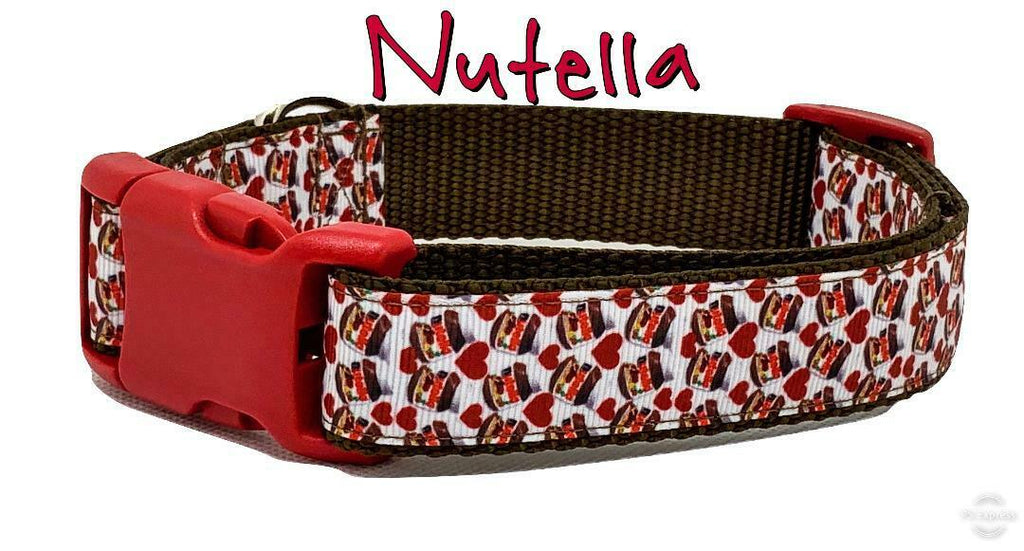 "Nutella dog collar handmade adjustable buckle collar 1"" wide or leash fabric - Furrypetbeds"
