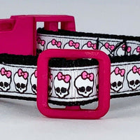 "Skulls cat & small dog collar 1/2"" wide adjustable handmade bell leash - Furrypetbeds"
