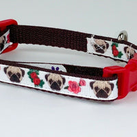 "Pugs  cat & small dog collar 1/2"" wide adjustable handmade bell Or leash - Furrypetbeds"