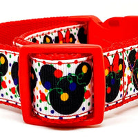 "Mickey Christmas dog collar handmade adjustable buckle collar 1"" wide or leash - Furrypetbeds"