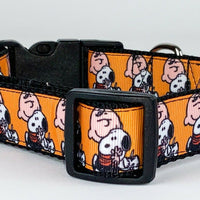 "Peanuts Snoopy dog collar handmade adjustable buckle collar 1"" wide or leash - Furrypetbeds"