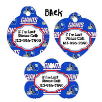 Pet ID Tag New York Giants Personalized Custom Double Sided Pet Tag w/name & num - Furrypetbeds