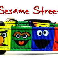 "Sesame Street Dog collar handmade adjustable buckle 5/8"" wide or leash"