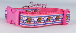 "Snoopy dog collar handmade adjustable buckle collar 1"" wide leash fabric $12 - Furrypetbeds"