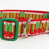 "Christmas dog collar Elf shoes handmade adjustable buckle collar 1"" wide - Furrypetbeds"