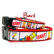 "Bart/Simpsons dog collar handmade adjustable buckle 1""or 5/8"" wide or leash"