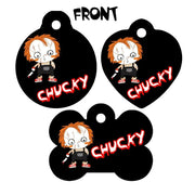 Pet ID Tag Chucky Personalized Custom Double Sided Pet Tag w/name & number - Furrypetbeds