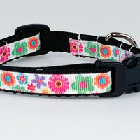 "Flowers cat or small dog collar 1/2"" wide adjustable handmade bell or leash - Furrypetbeds"