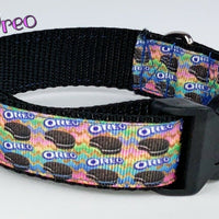 "Oreo dog collar handmade 12.00 all sizes adjustable buckle collar 1""wide leash - Furrypetbeds"