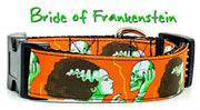 "Bride of Frankenstein dog collar handmade adjustable buckle 1""wide or leash - Furrypetbeds"