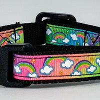 "Rainbow Glitter cat & small dog collar 1/2"" wide adjustable handmade bell leash - Furrypetbeds"