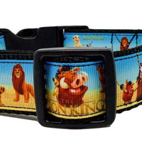 "The Lion King Dog collar handmade adjustable buckle collar 1"" wide leash fabric - Furrypetbeds"