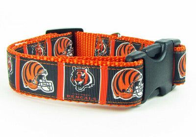 Bengals dog collar handmade adjustable buckle collar football 1