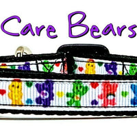 "Care Bears cat or small dog collar 1/2"" wide adjustable handmade bell or leash"