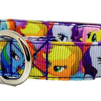 "My Little Pony dog collar handmade adjustable buckle collar 5/8"" wide or leash - Furrypetbeds"