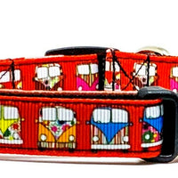 "VW Bus dog collar handmade adjustable buckle collar 5/8"" wide or leash Red - Furrypetbeds"