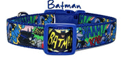 "Batman dog collar handmade 12.00 all sizes adjustable buckle collar 1""wide leash - Furrypetbeds"