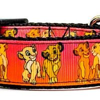 "Simba & Nala Lion King dog collar handmade adjustable buckle collar 1"" wide - Furrypetbeds"