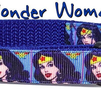 "Wonder Woman dog collar handmade adjustable buckle collar 5/8""wide or leash - Furrypetbeds"