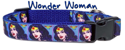 Wonder Woman dog collar handmade adjustable buckle collar 5/8