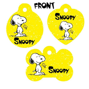 Pet ID Tag Snoopy Personalized Custom Double Sided Pet Tag w/name & number - Furrypetbeds