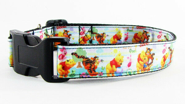 "Winnie The Pooh dog collar handmade adjustable buckle collar 1""wide leash fabric - Furrypetbeds"