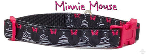 "Minnie Mouse Dog collar handmade adjustable buckle collar 5/8""wide or leash - Furrypetbeds"
