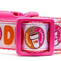 "Dunkin Donuts dog collar handmade adjustable buckle 1""or 5/8"" wide or leash - Furrypetbeds"