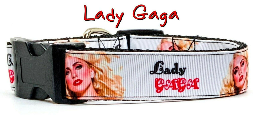 "Lady Gaga dog collar Handmade adjustable buckle 1""wide or leash Pop music - Furrypetbeds"