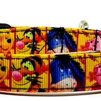"Winnie The Pooh dog collar handmade adjustable buckle collar 5/8"" wide or leash - Furrypetbeds"