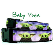 "Baby Yoda dog collar handmade adjustable buckle 1""or5/8""wide or leash Star Wars"