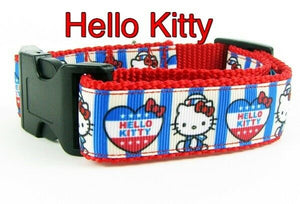"Hello Kitty USA dog collar Handmade adjustable buckle collar 1"" wide or leash - Furrypetbeds"