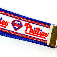 "Phillies Key Fob Wristlet Keychain 1""wide Zipper pull Camera strap - Furrypetbeds"