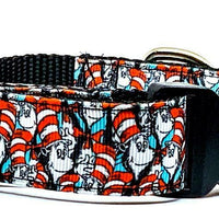 "Cat In The Hat dog collar handmade adjustable buckle collar 1"" wide leash fabric - Furrypetbeds"