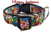 "Mickey Balloons Dog collar handmade adjustable buckle collar 5/8"" wide leash fabric - Furrypetbeds"
