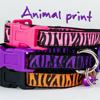 "Zebra Print cat & small dog collar 1/2"" wide adjustable handmade bell leash - Furrypetbeds"